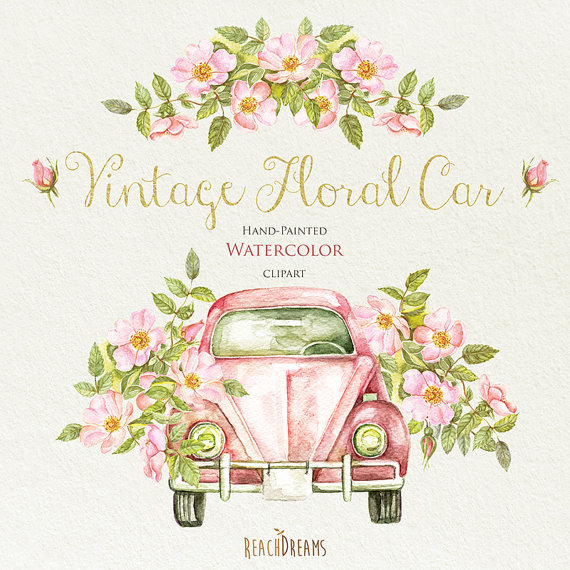 Car clipart flower. Watercolor vintage floral with