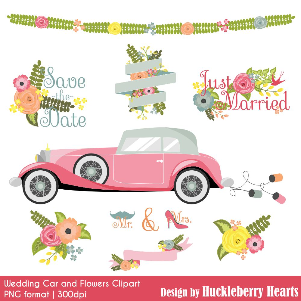 Car clipart flower. Wedding and flowers huckleberry