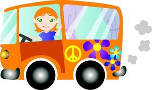 Car clipart flower. Free van image girl