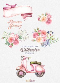 Watercolor vintage floral with. Car clipart flower