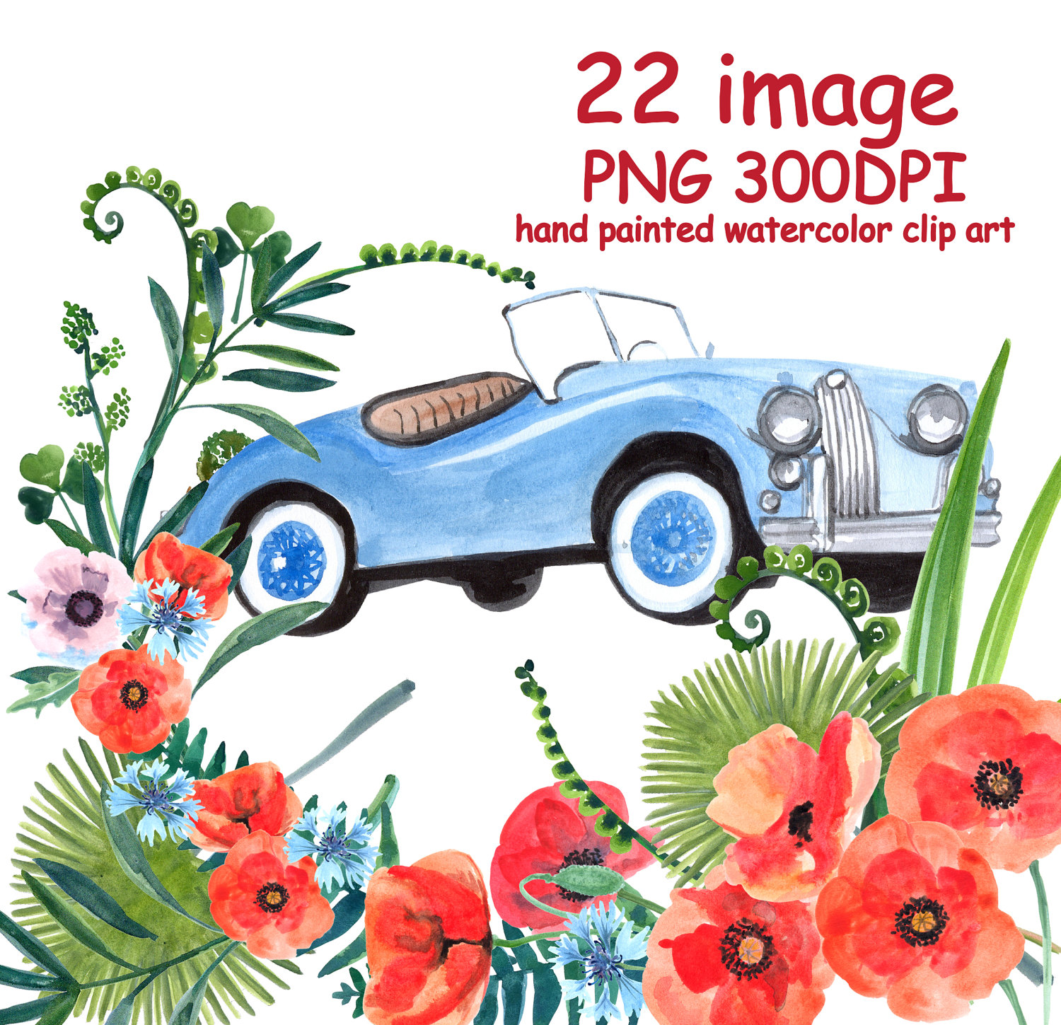 Watercolor flowers wedding spring. Car clipart flower