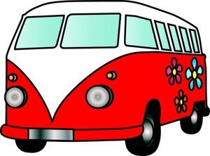 Free van image hippy. Car clipart flower