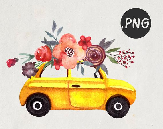 Car png retro yellow. Clipart cars flower