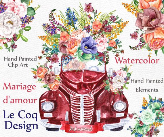 Car clipart flower. Watercolor wedding flowers floral