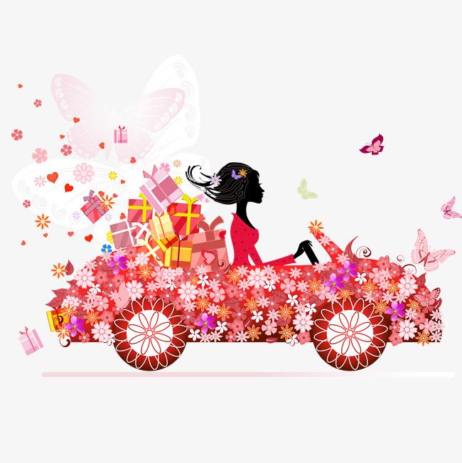 Flowering girl flowers gift. Car clipart flower