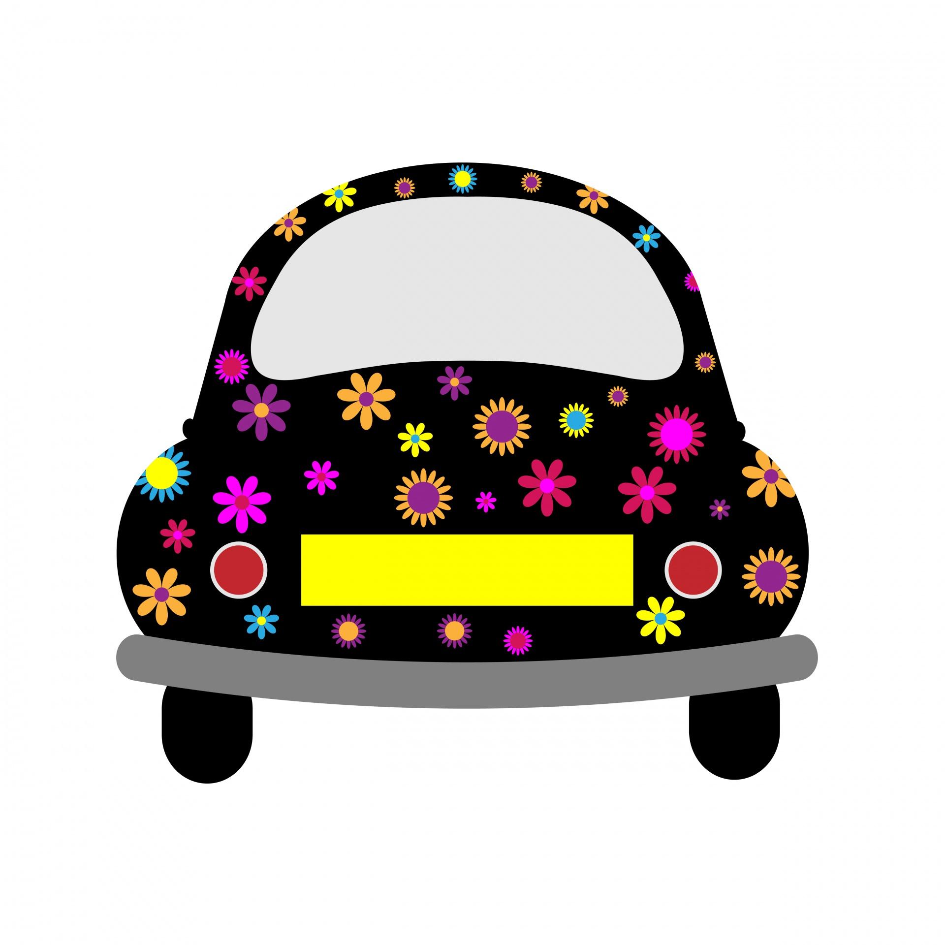 Car clipart flower. Retro power free stock