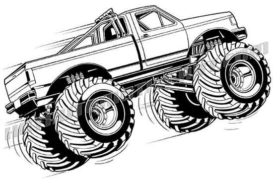 Car clipart monster. Ford f truck vector