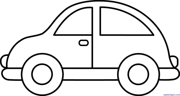 Black and white free. Car clipart outline