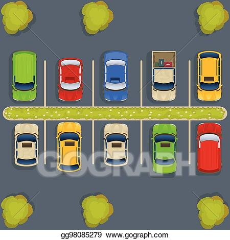Parking lot clipart yellow. Vector art top view