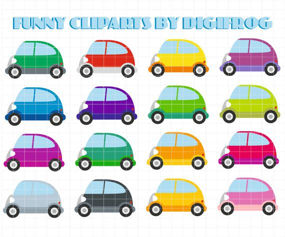 Funny small digital vehicles. Cars clipart printable