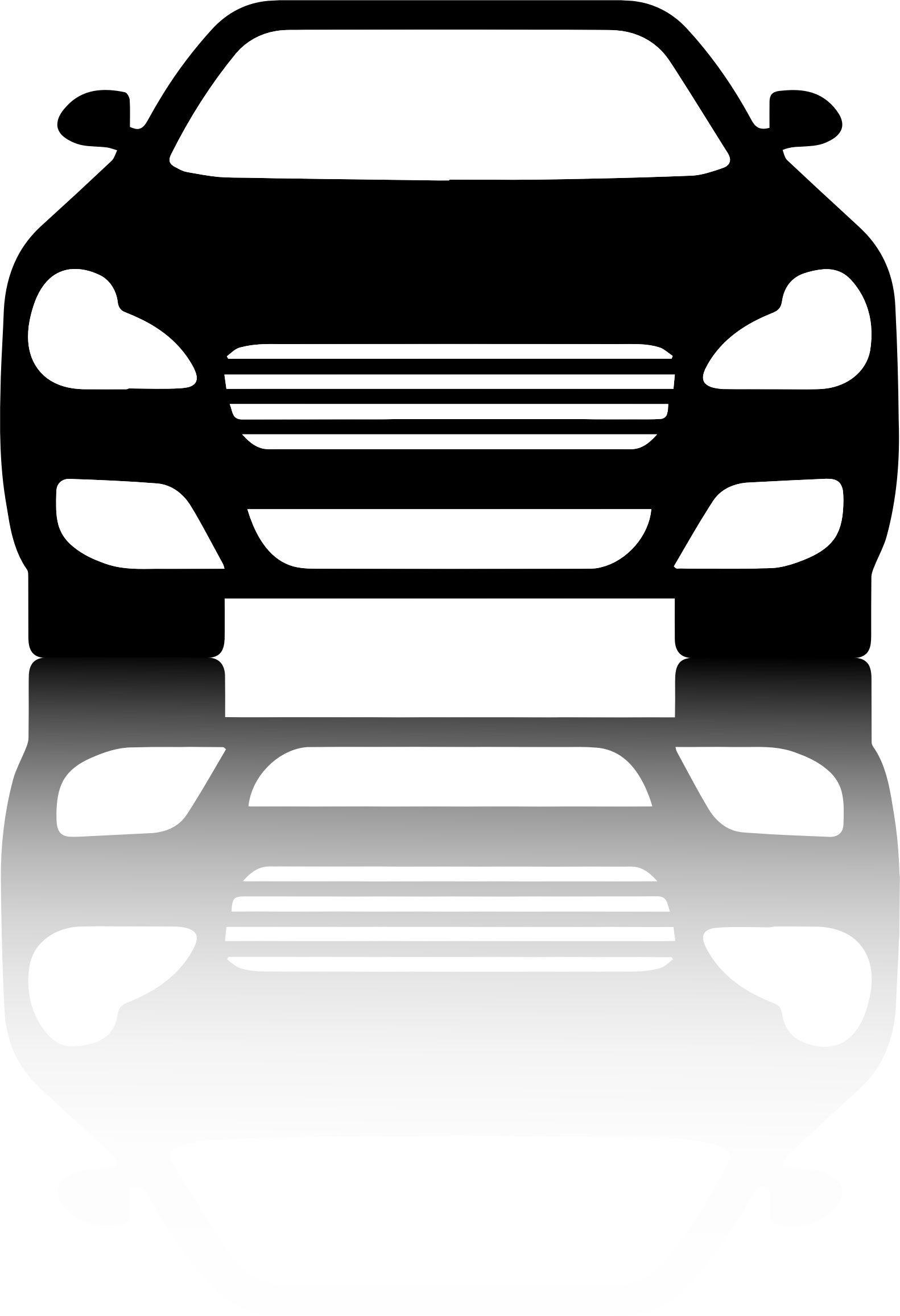 Car clipart shadow. Black front view with