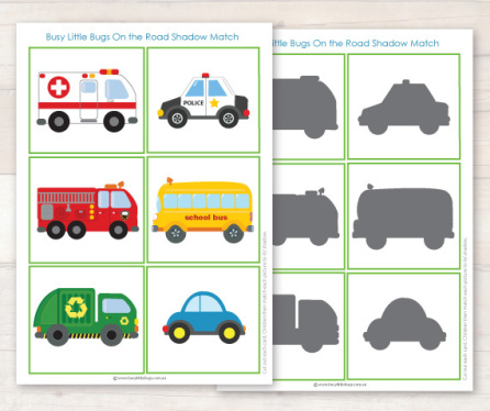 Car clipart shadow. Shadows sunflower storytime busylittlebugsshadowmatchinggamefromour
