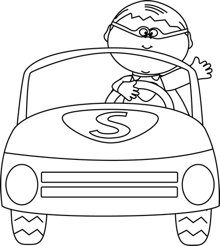 Black and white boy. Car clipart superhero