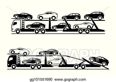Vector stock car trucks. Clipart cars transporter