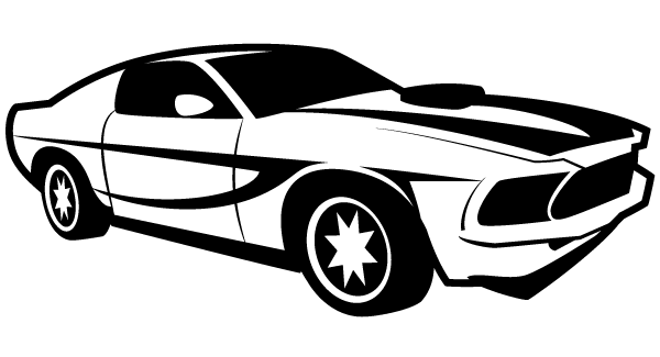 Racing car silhouette at. Cars clipart vector