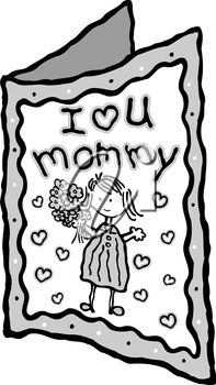 Free mother day clip. Cards clipart black and white