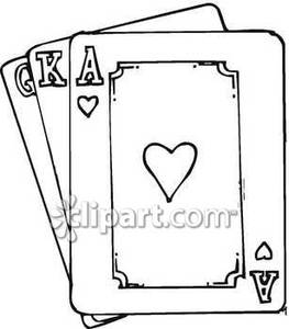 Cards clipart drawing. Black and white playing