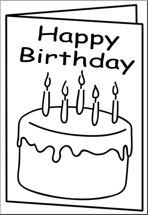 Cards clipart black and white. For birthday clip art