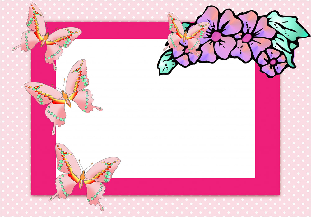 Border clip art free. Cards clipart butterfly