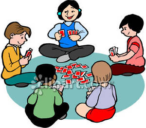Cartoon kids card game. Cards clipart playing
