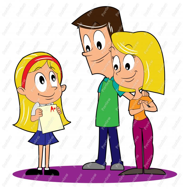 Girl student with report. Card clipart cartoon