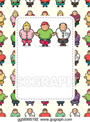 Vector stock fat people. Card clipart cartoon