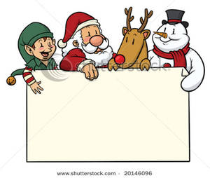 Picture christmas card with. Characters clipart xmas