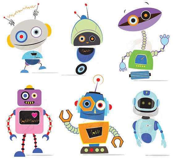 Cute robots diy birthday. Card clipart clip art