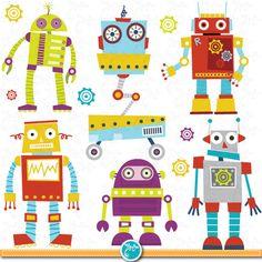 Robots retro robot party. Card clipart clip art