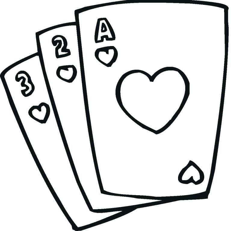 Cards clipart black and white. Playing card drawing at