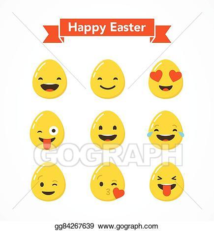 Background clipart emoji. Vector happy easter eggs