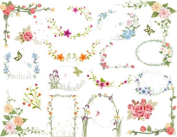 Instant download digtal floral. Card clipart flower