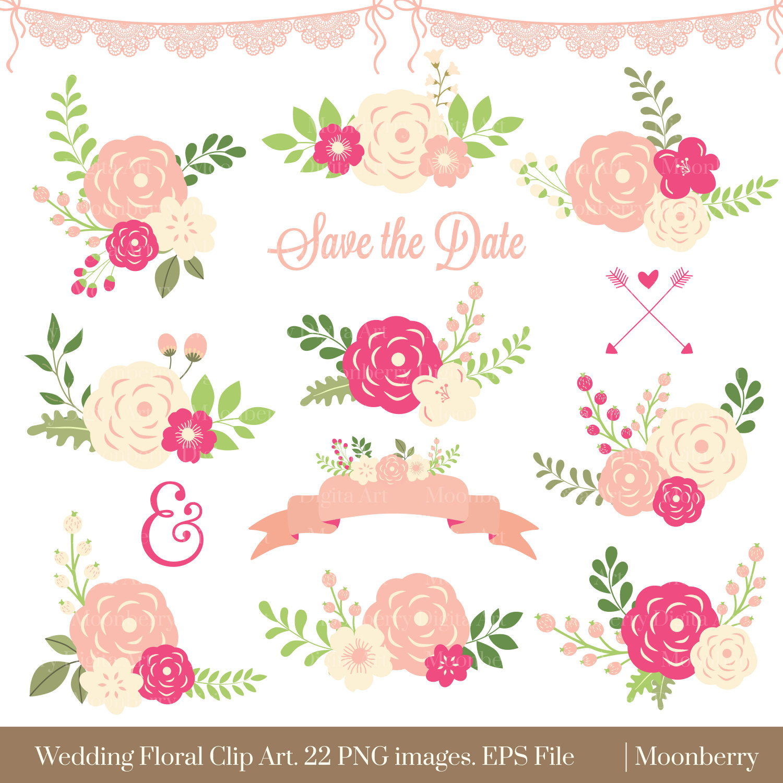 Floral wedding flowers . Card clipart flower