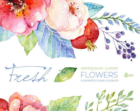 Card clipart flower. Fresh flowers bouquet handpainted