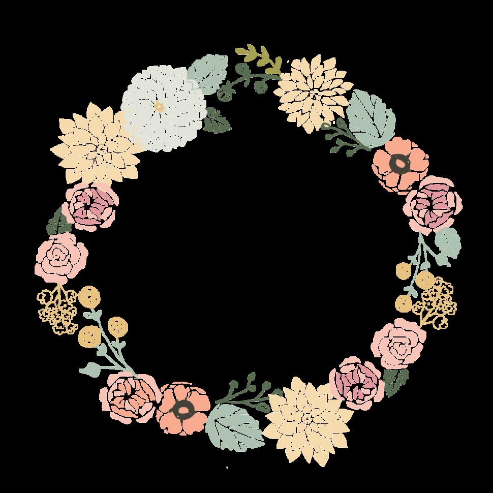 Flowers half wreath cff. Card clipart flower