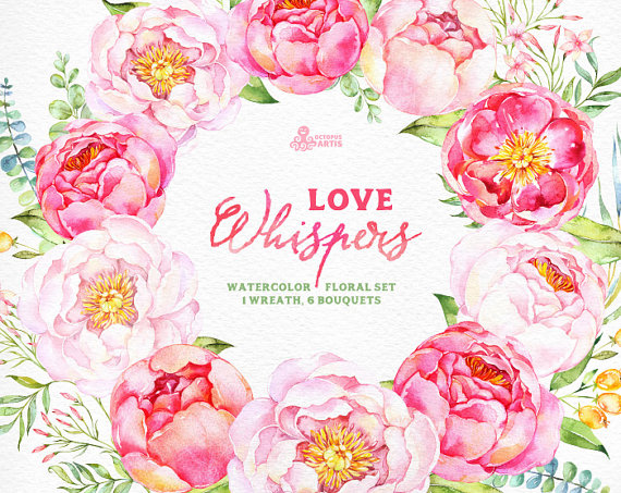 Love whispers watercolor bouquets. Card clipart flower