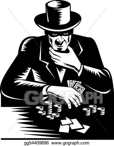 Man in top hat. Card clipart gamble