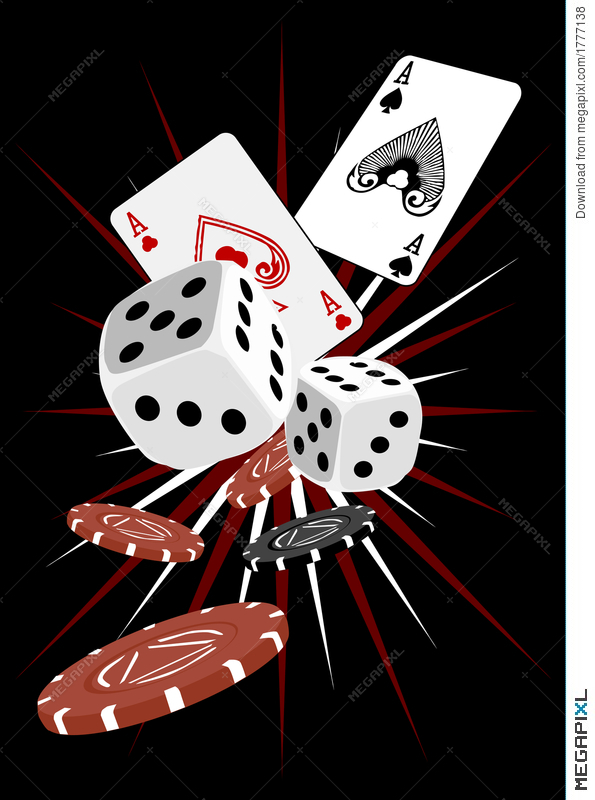 Gambling dice and cards. Card clipart gamble