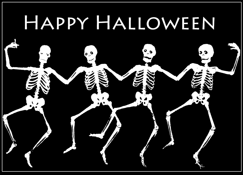 Card clipart halloween. Greeting cards skeletons