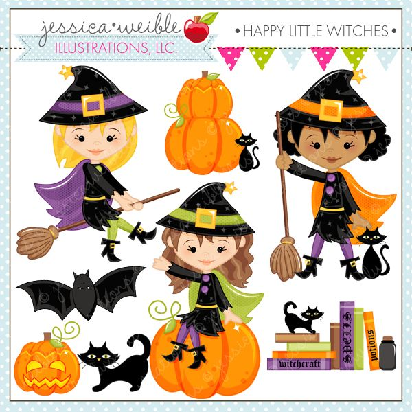 Card clipart halloween. Happy little witches cute