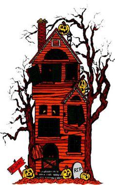 Haunted house clip art. Card clipart halloween