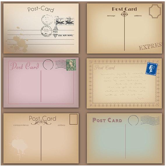 Card clipart mail. Vintage postcards clip art