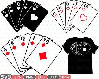 Royal flush silhouette suits. Card clipart poker