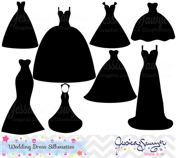 Instant download wedding silhouette. Dress clipart gown