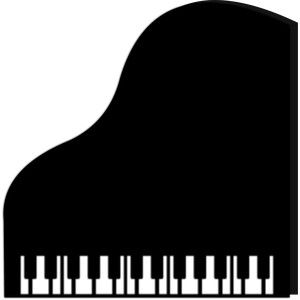 Grand piano pianos design. Card clipart silhouette