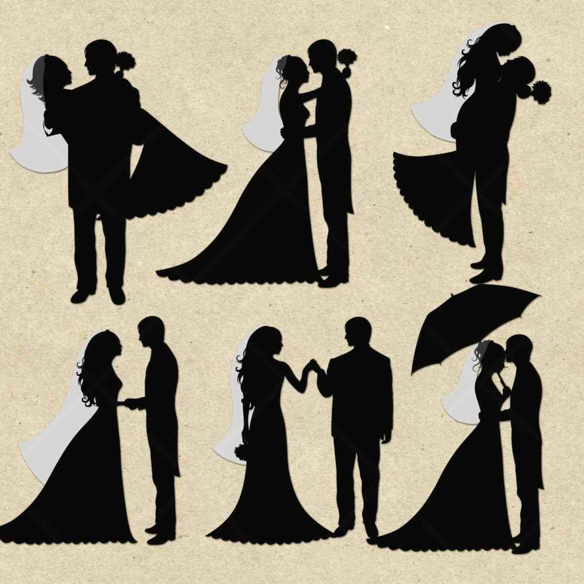Bride and groom clip. Card clipart silhouette
