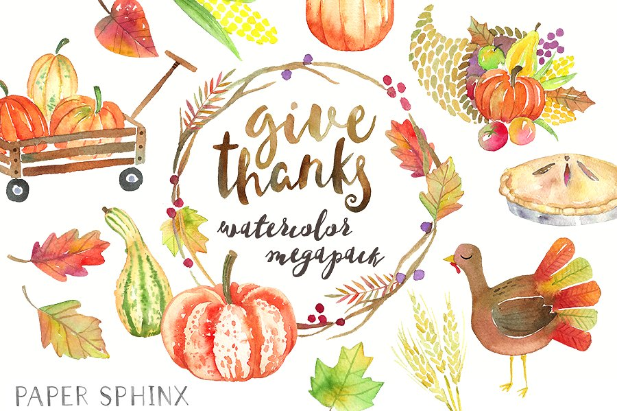 Watercolor graphic pack illustrations. Cards clipart thanksgiving