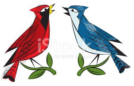 Cardinal clipart blue jay. Birds stock vectors psd