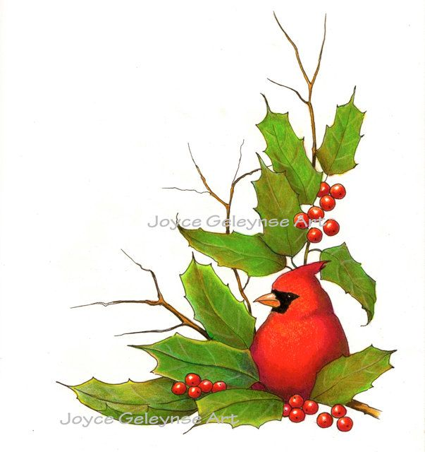 Clip Art Christmas Border With Cardinal Bird And Holly INSTANT