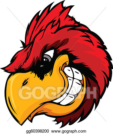 Cardinal clipart cardinal head. Vector illustration or red